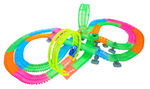 Magical Twisting Glow In the Dark Light Up Race Car Tracks - Ultimate Loop Racing Set  - 420 pcs -  25ft Of Track