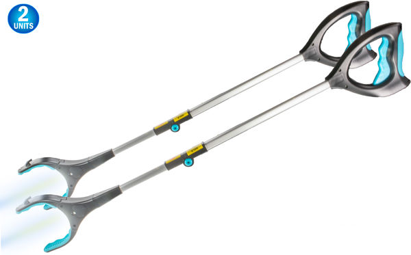 2pc Reaching Grabber Pick Up Tool With LED Light - 32 inch - Light Weight Aluminum Design - Reaching Aid - Articulating Rubber Head - Rubber Grip - Reaching Aid Pick Up Toolgrabber