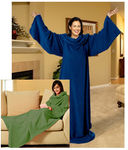 1 Soft Fleece Throw Blanket With Sleeves